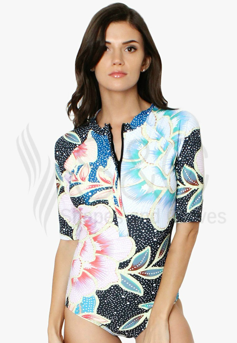 3/4 SLEEVES FLORAL ZIP UP RASHGUARD SWIMWEAR