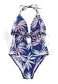 PLUNGE HALTER NECK LEAF PRINT BACKLESS ONE PIECE SWIMWEAR