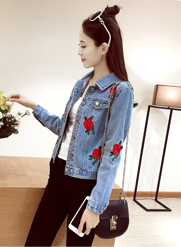 Rose Embroidered Denim Jacket The Daily Deals