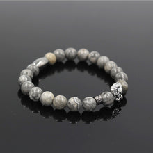 Fashion Natural Marble Stone Lion Head Bracelet