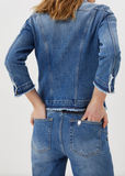 Kate Denim Jacket With Embroidered Leaves/ Blue