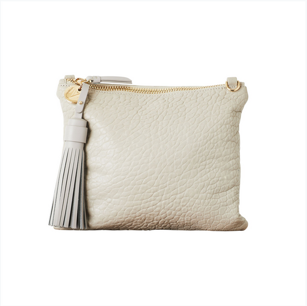 Mickey Grey Pebble Leather Clutch