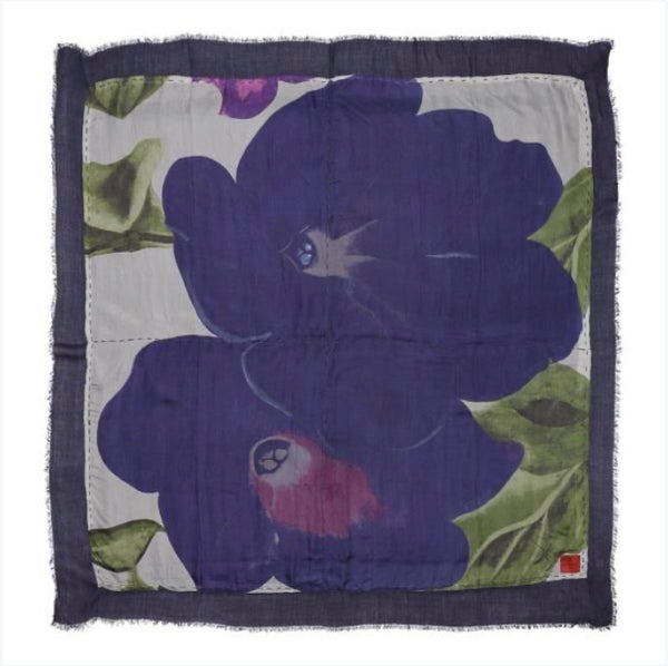 Erfurt Big Flower Print Double Sided Scarf Lavender