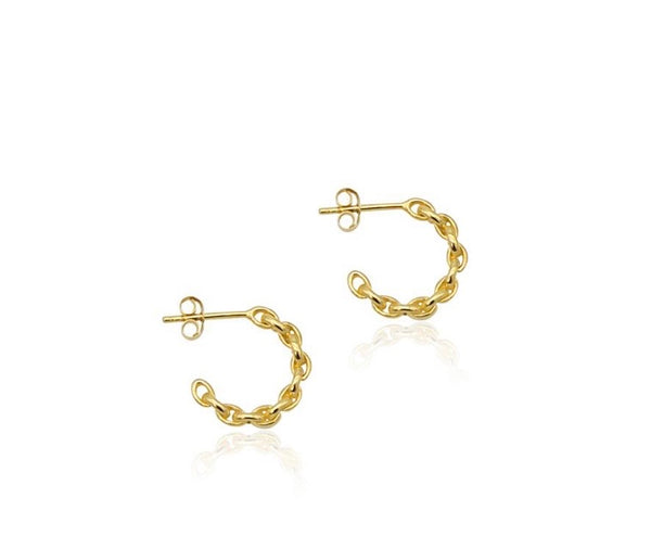 Linda Tahija Mini Chain Hoop Earrings Gold