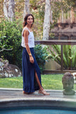 Izzy Silk Maxi Skirt / New Blue