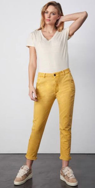 Reiko Scott Tapered Chino Pants Mustard