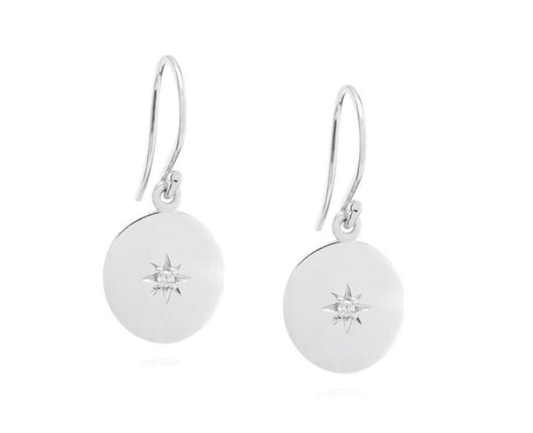 Linda Tahija North Star Disc Earrings Silver
