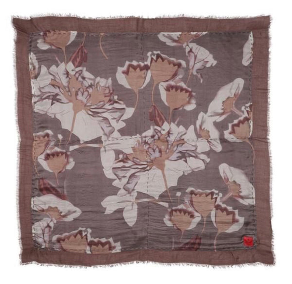Erfurt Flower Print Double Sided Scarf Brown