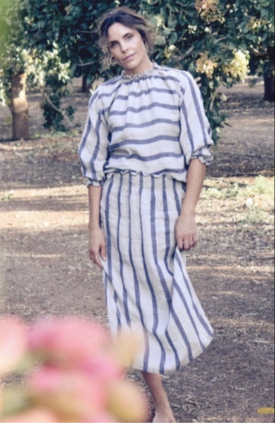 Maxi Skirt With Side Splits And Rushed Waist Natural Blue Stripe