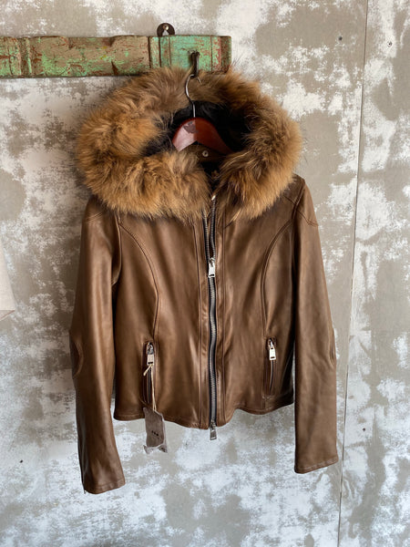 Delan Leather Jacket with Hood Oil