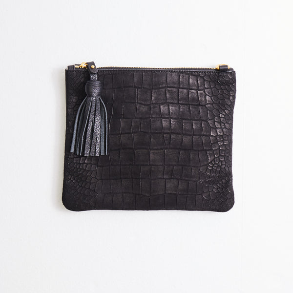 Vash Mickey Black Suede Croc Clutch