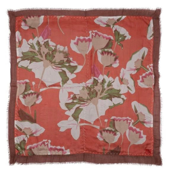 Erfurt Flowers and Butterflies Print Double Sided Scarf Peach