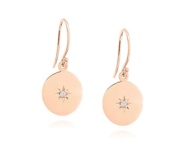 Linda Tahija North Star Disc Earrings Rose Gold