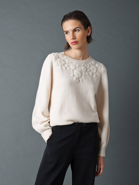Indi & Cold Knit With Embroidery Ivory