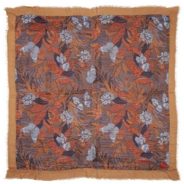 Erfurt Flowers and Butterflies Print Double Sided Scarf Brown