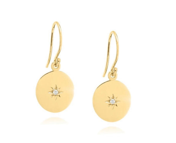 Linda Tahija North Star Disc Earrings Gold