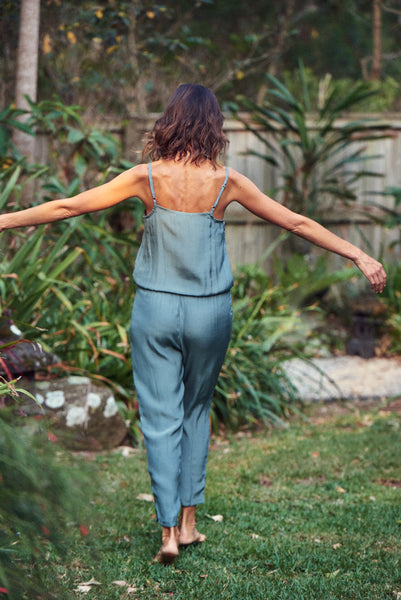 Charlotte Silk Jumpsuit / Light Teal