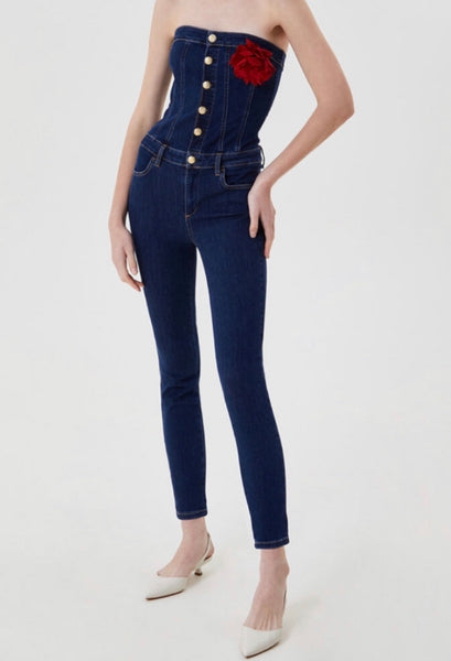 Tuta Strapless Long Denim Jumpsuit / Blue Lizrael