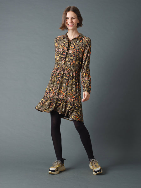 Indi & Cold Eloise Shirtdress With Pomegranate Print Black