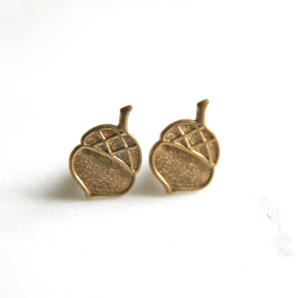 Acorn - Brass Earrings