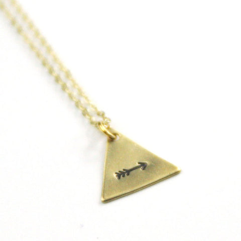 Arrow - Brass Stamped Necklace