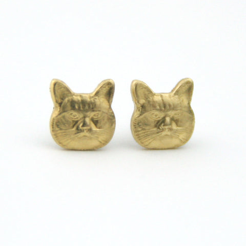 Cat - Brass Earrings