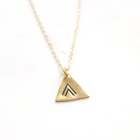 Chevron - Brass Stamped Necklace