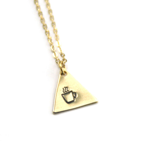 Coffee Cup - Brass Stamped Necklace