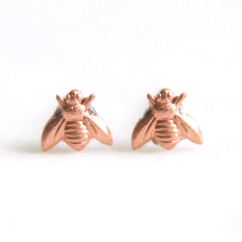 Tiny Bee - Copper Earrings