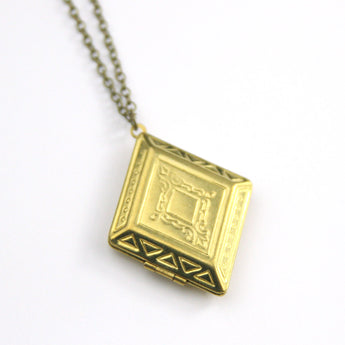 Diamond shape vintage brass locket