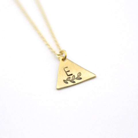 INITIAL + LEAF E - Brass Stamped Necklace