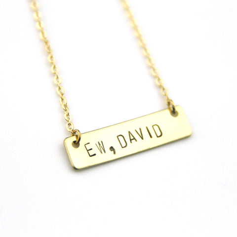 Ew, David - Stamped Bar Necklace