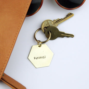 feminist brass stamped keychain - feminism, girl power, equality
