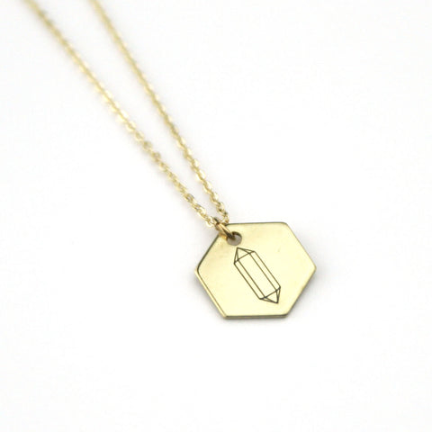 Gemstone Hexagon - Brass Stamped Necklace