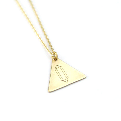 Gemstone Triangle - Brass Stamped Necklace