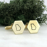 Georgia State - Brass Hexagon Cufflinks