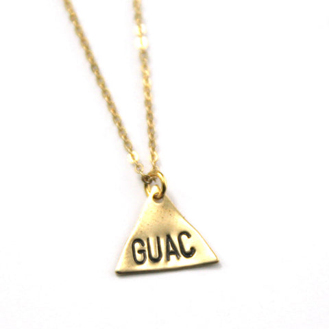 Guac - Brass Stamped Necklace