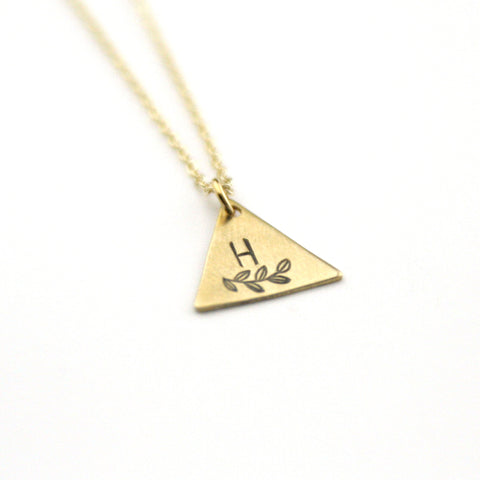 INITIAL + LEAF H - Brass Stamped Necklace