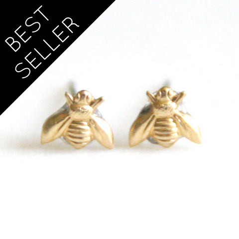 Tiny Bee - Brass Earrings