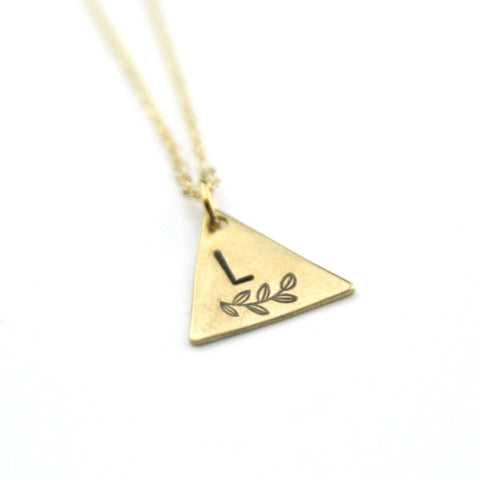 INITIAL + LEAF L - Brass Stamped Necklace