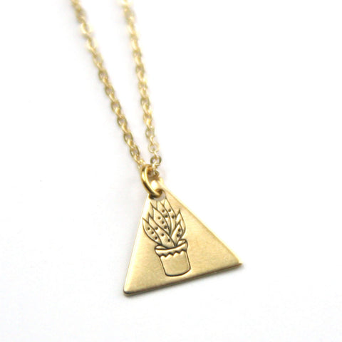 Tall Succulent - Brass Stamped Necklace