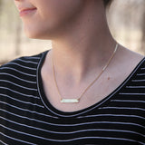 Heart U > Pizza - Stamped Bar Necklace