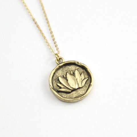 Lotus Flower - Brass Necklace