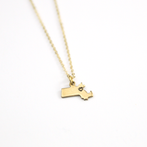 Massachusetts - State Heart Necklace
