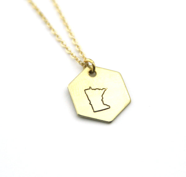 Minnesota Hexagon - Brass State Stamped Necklace