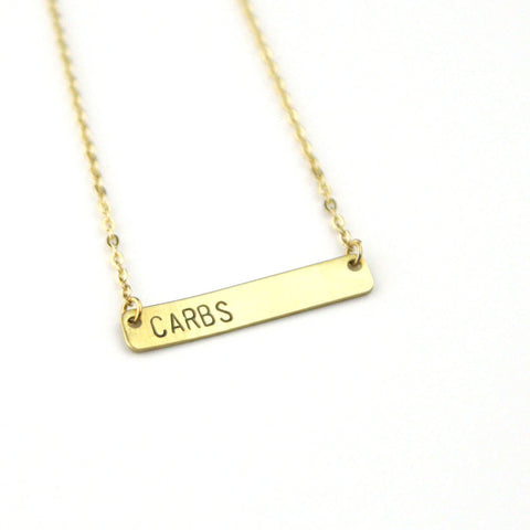 Carbs - Stamped Bar Necklace