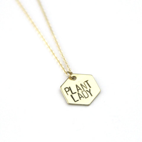 Plant Lady Hexagon - Brass Stamped Necklace