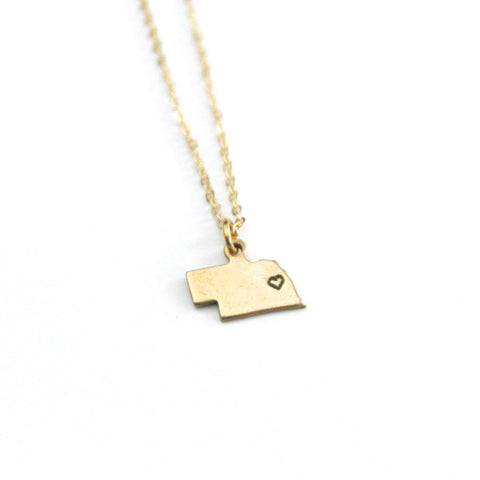 Nebraska - State Heart Necklace