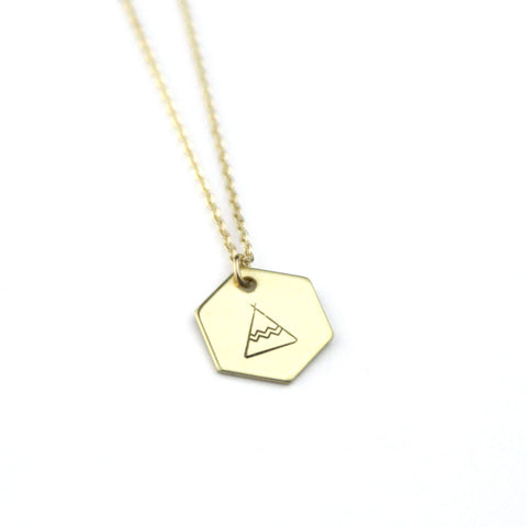 Boho Tee Pee Hexagon - Brass Stamped Necklace
