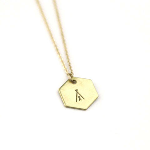 Tee Pee Hexagon - Brass Stamped Necklace